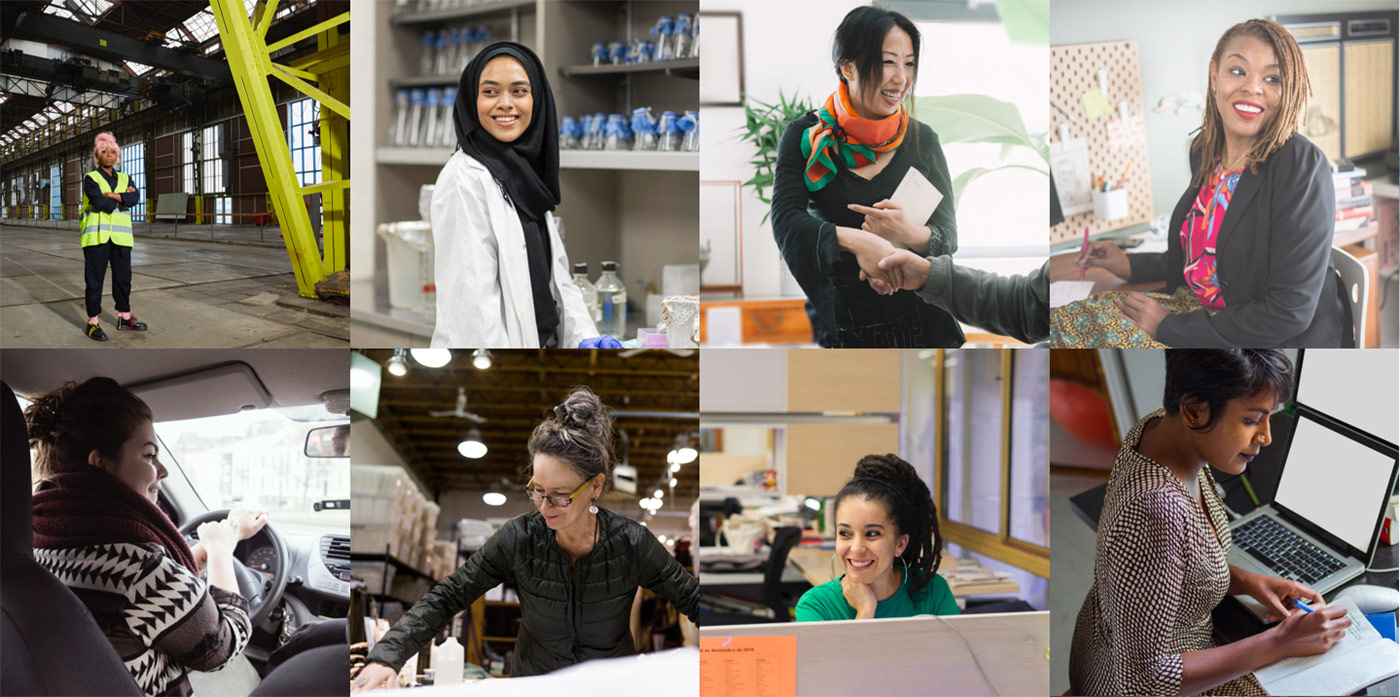 Collage of women workers